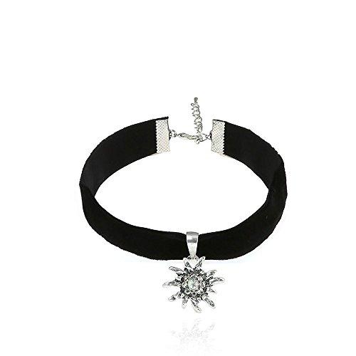 Alpenklunker Halsband Choker Kropfband Edelweiß viele Farben passend zum Dirndl Tracht Schmuckrausch Farbe Schwarz