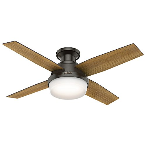 "Hunter Dempsey Indoor Low Profile Ceiling Fan with LED Light and Remote Control, 44"", Noble Bronze"