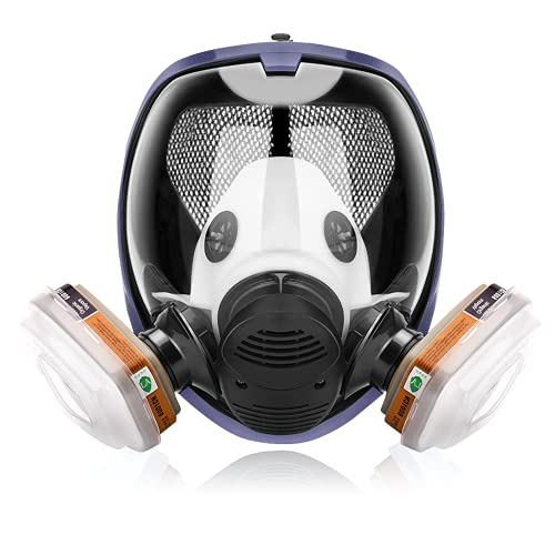 17in 1 Reusable Full Face Respirator Widely Used in Paint Sprayer, Chemical,Woodworking,Dust Protector