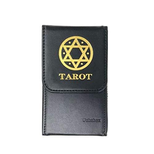 Dengeng Tarot-Aufbewahrungsbox für Doppel-Ledersammlung, Spielkarten-Box, Tarotpalmbox 125 * 75 * 25mm Schwarz