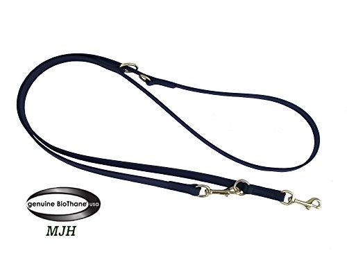 Angel for Pets MJH-Führleine Beta BioThane-3fach Verstellbar 9mm/2,30m Schwarz, Edelstahl, Hunde bis ca.12kg