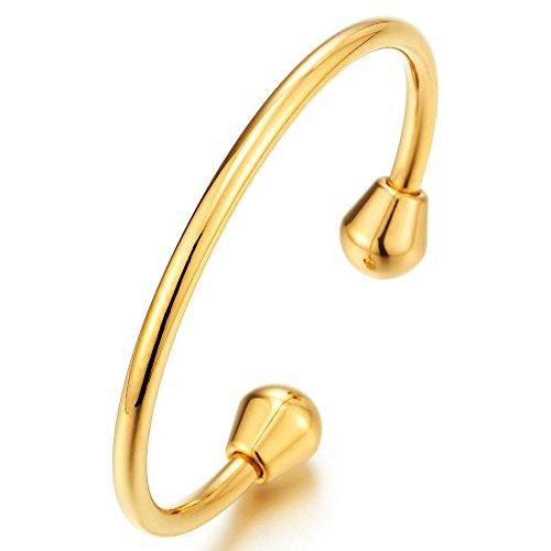 COOLSTEELANDBEYOND Elastische Verstellbare Edelstahl Goldfarben Manschettenarmband Armband Armreif für Herren Damen Poliert
