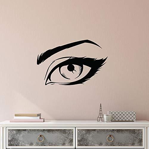 Tatuajes de pared de dibujos animados hermosa niña ojo pegatinas de vinilo sala de maquillaje salón de belleza decoración de interiores látigo ceja arte papel tapiz