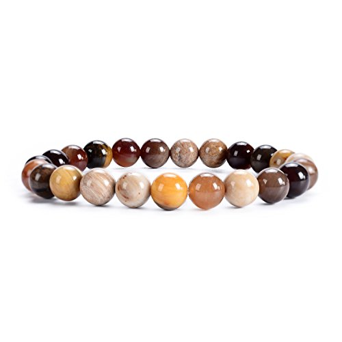 Cherry Tree Collection Natural Semi-Precious Gemstone Beaded Stretch Bracelet 8mm Round Beads 7' (Wood Opalite)