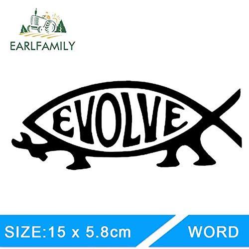 BJDKF 15cm x 5.8cm Auto Stickers Die Cutting Evolve Evolution Vis Vinyl Sticker Auto Styling Accessoires ORANJE