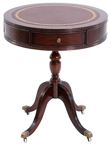 Casa Padrino luxury baroque side table dark brown/brass/brown/gold Ø 51 x H. 59 cm - Round mahogany table with drawers and fine genuine leather - Baroque Mahogany Furniture