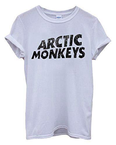 Nueva Camiseta Arctic Monkeys en Cotone Band Indie Rock, Garage Rock, Revival Post-Punk-Blanco-Small