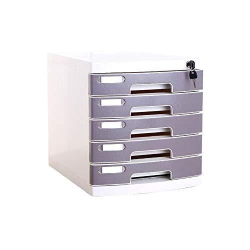 Bxwjg Cassettiera in Plastica A 5 Strati Scrivania, Contenitore for Archivio Scatola Portadocumenti A4 con Serratura for Ufficio (Size : Medium 5-Layers)