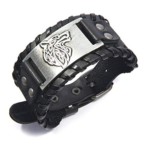 Gungneer Norse Viking Celtic Fenrir Wolf Head Scandinavian Leather Bracelet Men Women Norse Protection Jewelry