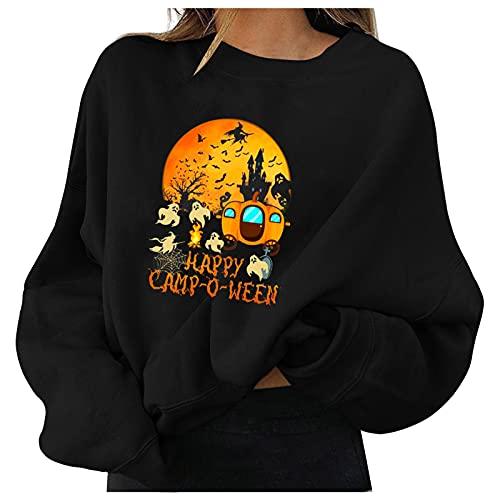 BOOMJIU Sudadera para Mujer de Halloween Estampado Cuello Redondo Manga Larga Estilo Vintage Ropa Deportiva Talla Grande Pullover