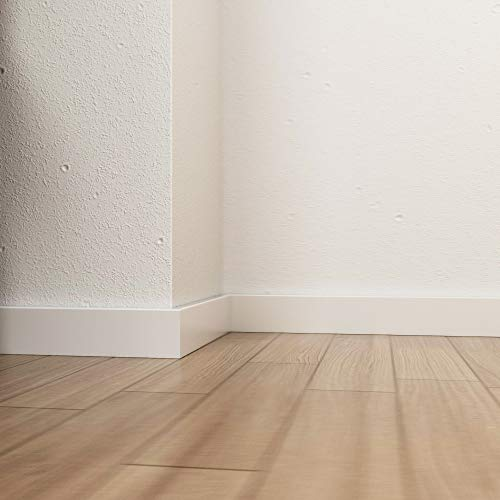 Battiscopa minimal moderno in legno laccato bianco mm 50x12