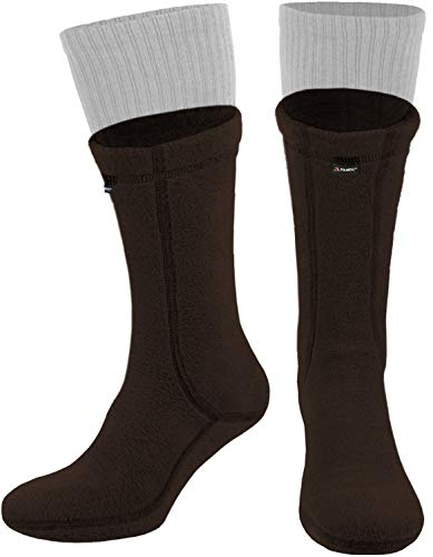 281Z Military Warm 8 inch Boot Liner Socks - Outdoor Tactical Hiking Sport - Polartec Fleece Winter Socks (Large, Brown Bear)