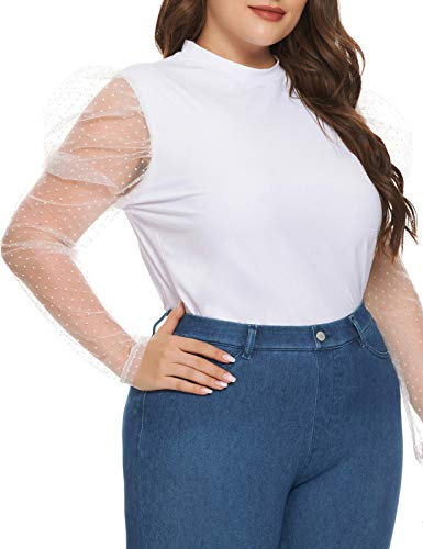 Plus Size Women's Sheer Mesh Long Sleeve Slim Fit T Shirt Top White 20W