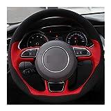 Without Coperchio del Volante per Auto a Mano in Pelle Rossa Pelle Scamosciata Nera Adatta per Audi A1 A3 A5 A7 A7 Accessori Auto Accessori Auto (Color Name : 1)