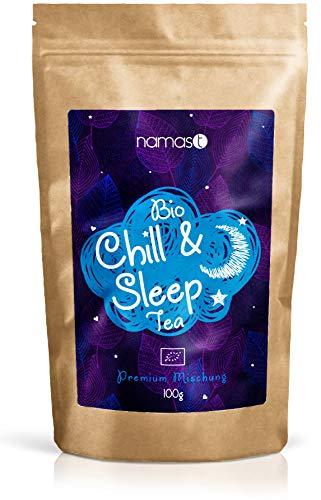 Chill & Sleep Tea BIO 100g - Abendtee, Entspannungstee - biologische Spitzenqualität - loser Kräuter Tee mit Baldrian, Lavendel, Johanniskraut, Passionsblume, Hopfenblüten, etc.