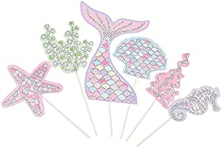 iMagitek 24 Pieces Mermaid Cupcake Decorations Toppers, Mermaid Tail, Starfish, Seahorse, Seashell, Fishtail Cake Picks for Birthday Party, Baby Shower