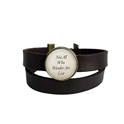 Vintage Punk Dark Brown Leather Bracelet English Sentence Not All Who Wander are Lost Belt Wrap Cuff Bangle Adjustable