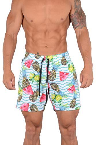 YoungLA Swim Shorts for Men | Quick Dry Trunks | Exclusive Designer Anti Chafe Swimwear with Zipper Pocket | 110 Melon Pineapple L