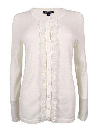 Tommy Hilfiger Womens Kelly Ruffled Cardigan Sweater, White, Large