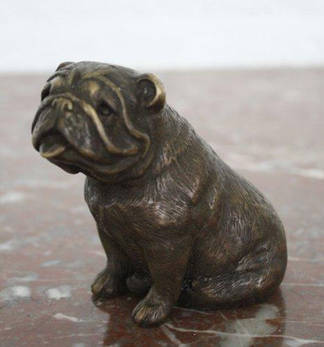 Unbekannt Bronzeskulptur Einer Bulldogge - Dekoration für Haus und Garten - 9x9x6,5 cm