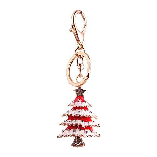 Hacoly Albero di Natale con Strass Portachiavi Elegante Portachiavi Borsa Auto Ornamenti Ciondolo per Le Donne Uomini Souvenir Regalo Creativo di Compleanno