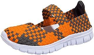 DoGeek Women Woven Shoes Slip on Walking Shoes Water Shoes Handmade Woven Elastic Mary Jane Flat Sneakers Comfort Lightweight Fashion Sneakers