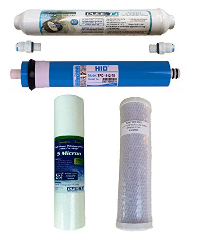 RO Filter Set with RO Membrane, 75 GPD Membrane, for 4 Stage System | Replacement Membrane and Filters