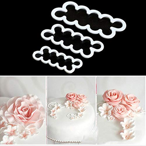 weichuang Cake mold 3PCS/set 3D Rose Petal Flower Shaped Cutter Maker Elegant Cake Mould Fondant Cake Decorating Mould Sugar Craft Mould DIY tools Candy Mold (Color : White)