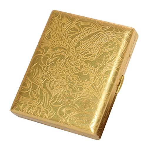 LZWH Estuche de cigarrillo de cobre retro, portátil antipresión, funda de metal para cigarrillos, para hombres, puede contener 20 cigarrillos (color latón)
