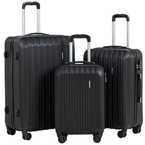 quality luggages Murtisol ABS Hardside Luggage Sets With Spinner Dual Wheels, Suitcases with Spinner Wheels, Large capacity, Black, 3-Piece Set(20/24/28)