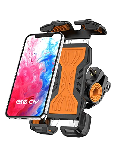 Grefay Soporte Móvil Bicicleta Soporte Móvil Moto de Acero Inoxidable Antivibraciones Conexiones en Dos Tamaños , Puede Girar 360 ° Adecuado para Teléfonos Inteligentes de 4.7-6.8 Pulgadas