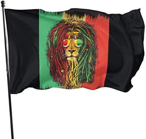 Oaqueen Flagge/Fahne Reggae Rasta Flag Lion Decorative Fahnen Flaggen, 3 X 5 Ft Flag for Outdoor Indoor Home Decor
