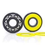 FUSHIBEARING 608RS Inline Skate Bearing, Grade ABEC-9 Yellow V Sealed with Steel Cage 608 Ball Bearings, Fast Smooth with Oil, Pick of 10 Pcs