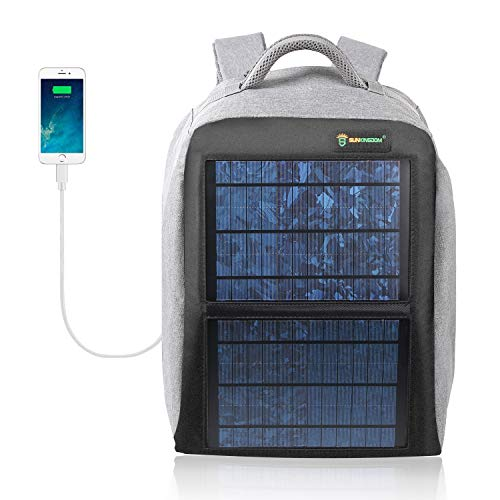 SUNKINGDOM Solar Power Backpack Waterproof Anti-Theft Fast Charging Camping & Hiking Daypack with Highest Solar Panel Charger for Smart Cell Phones and Tablets, GPS, Powerbank, Bluetooth Speakers