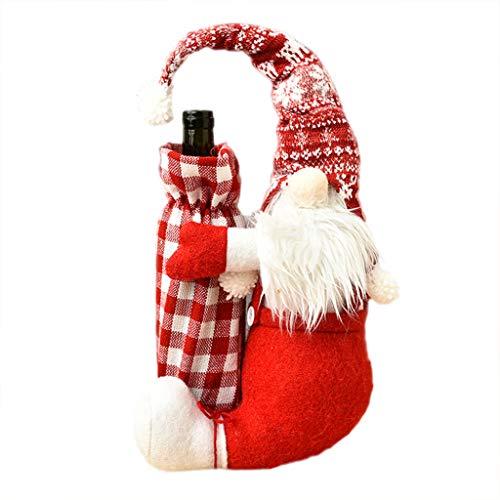 Funda protectora para botella de vino tinto y champán con gnomo sueco, para decoración de bolsas