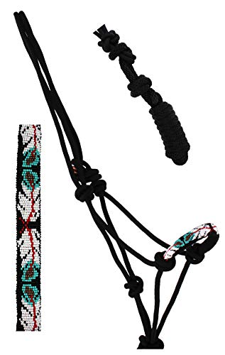 Nylon Horse Braided Beaded Noseband Rope Halter Lead Rope Tack Black 606RT31