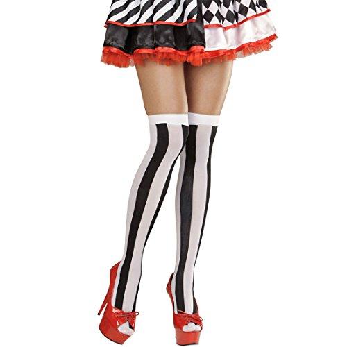 Pantis sexys mujer calcetines largos de rayas negro-blanco Medias altas para mujer arlequín Accesorios disfraz Alicia Medias por encima de la rodilla sin sujeción Pantys nylon reina de corazones