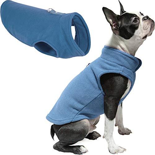 Gooby - Fleece-Weste, Pullover für kleine Hunde, Fleecejacke mit Leinen-Ring, Blau, Größe M