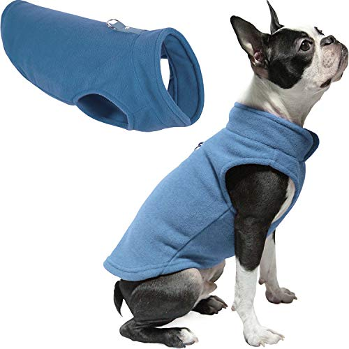 Gooby Fleece Vest Dog Sweater - Blue, Small - Warm Pullover Fleece Dog Jacket with O-Ring Leash - Winter Small Dog Sweater Coat - Cold Weather Dog Clothes for Small Dogs Boy or Girl