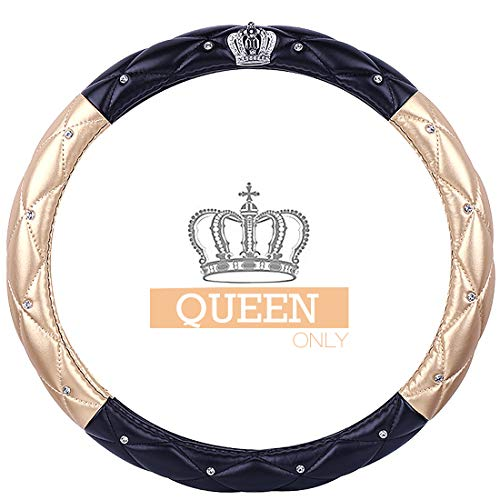 Queen's Auto Steering Wheel Cover with Noble Crown + Bling Diamond + Soft Leather Car Stylish Series Universal 15'/38cm (Queen ONLY) (Gold & Black)