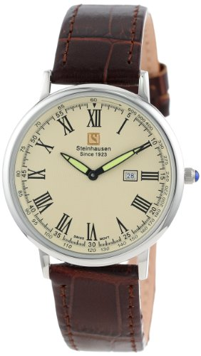Steinhausen Men's TW493S Dunn Horitzon Thin Stainless Steel Watch with Interchangeable Leather Straps