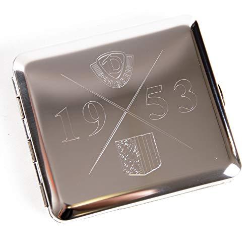 SG Dynamo Dresden Metall Etui Logo flach, Zigarettenetui, Zigarettenbox SGD - Plus Lesezeichen Wir lieben Fußball