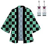 Hinevey Kamado Tanjirou Tomioka Giyuu Agatsuma Zenitsu Cosplay, kimono, cárdigan de punto y pendientes unisex estampados, kimono, capa con 1 par de pendientes con colgante (verde oscuro, XL)