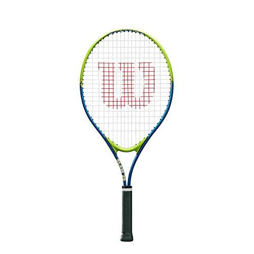Wilson, Raqueta de Tenis para niños, Slam 25, Azul Verde, jóvenes con Altura de 130 a 145 cm