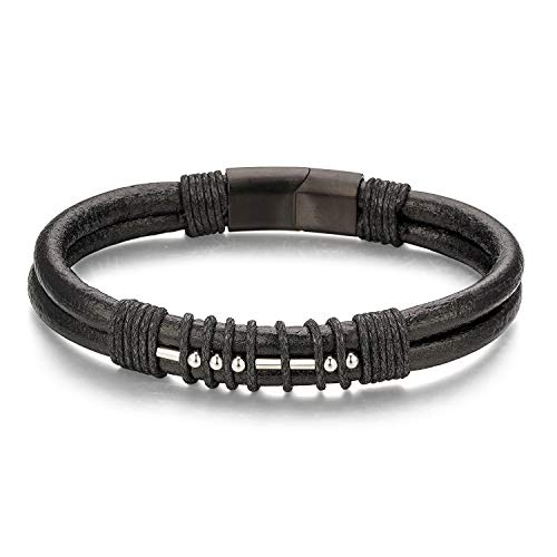 Dad Morse Code Mens Leather Bracelet Black Genuine Leather Stainless Steel Beads Magnetic Closure Birthday Gifts For Men From Daugher Son 8.6'