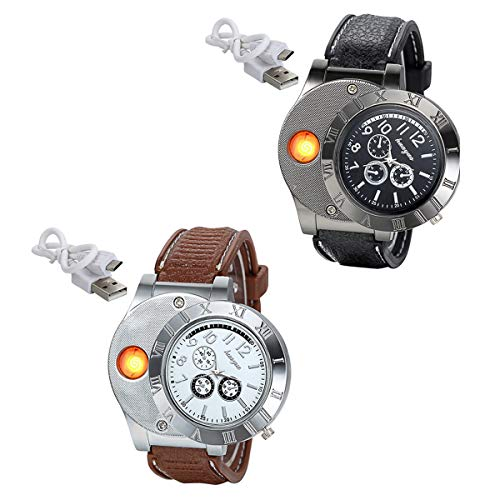 JewelryWe Regalo para el día del padre, 2relojes digitales con encendedor USB de cuarzo para hombre, negro y plata