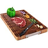 HHXRISE Large Thick Acacia Wood Cutting Board For Kitchen, With 4 Built-In Compartments And Juice...