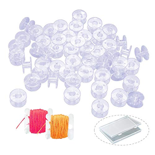 50PCS Bobbins, Sewing Machine Bobbin with Case for Brother, Singer, Kenmore, Janome, Bernina, Plastic Bobbins with 2PCS Embroidery Floss Bobbins