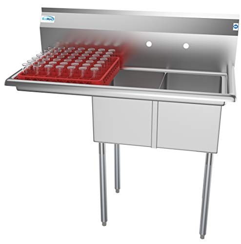 """KoolMore 2 Compartment Stainless Steel NSF Commercial Kitchen Prep & Utility Sink with Drainboard - Bowl Size 12"""" x 16"""" x 10"""", Silver, Left Drainboard"""