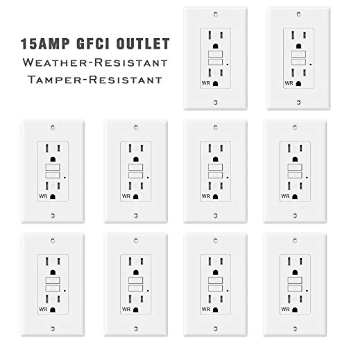 TOPELE 15 Amp GFCI Outlet, 125 Volt Weather-Resistant Tamper-Resistant Receptacle, Indicators with LED Light, 1 Wall Plate and Screws Included, White, UL Listed, Pack of 10